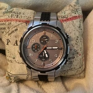 FOSSIL Dean Chronograph Silver Dial Two-tone Watch